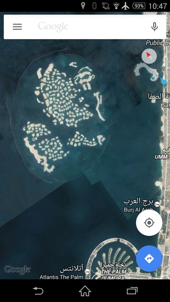 Dubai Jumeirah Beach with the palm and the world