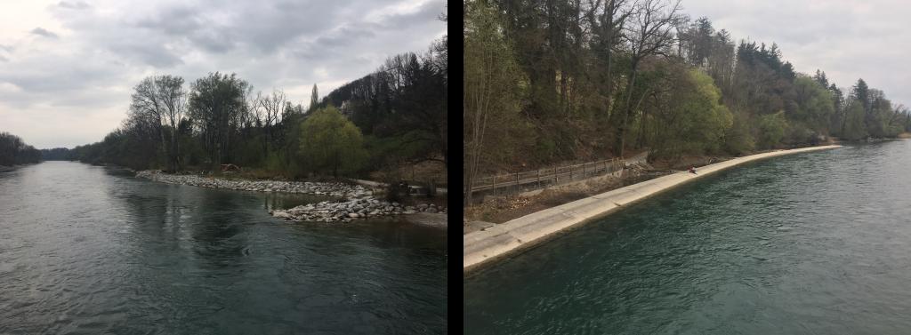 Vergleich Aaare mit und ohne Buhnen. Blick von der Auguet Brücke (Datum 2.4.2017)